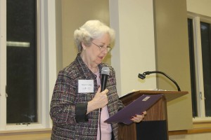 AAUW Missouri President, Diane Ludwig, tells the Columbia branch what is happening in Missouri on Tuesday, September 8, 2015.