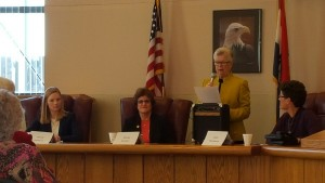 AAUW public policy chair, Mary Mosely, introduces the speakers for the first Holly Burgess Public Policy Forum on November 7, 2015.